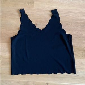 Tobi Black Scalloped Tank Top